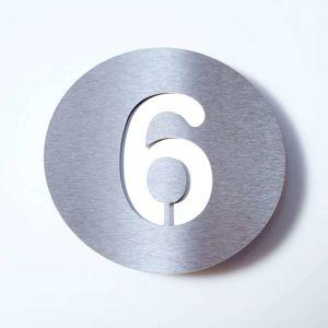 Domovní číslo Round z nerezu - 6
