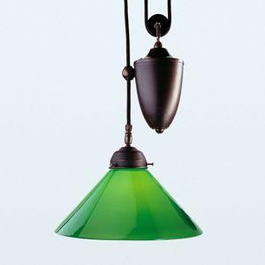 Antické závěsné světlo Jonas se zeleným stínidlem