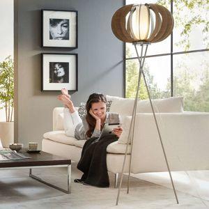 Stojací lampa Stellato s dřevěnými lamelami hnědá
