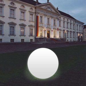 Kulové světlo Snowball bílé, noha hliník 100 cm