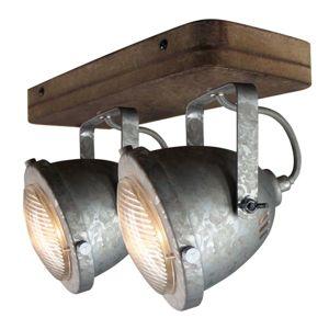 Stropní světlo Woody, galvanizované, 2 zdroje