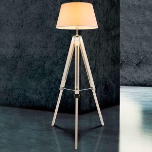 Dřevěná stojací lampa Mareen s textilním stínidlem