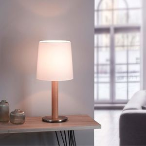 Lucande Elif stolní lampa bílá, válec dub přírodní