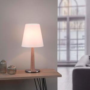 Lucande Elif stolní lampa bílá, kónus, dub