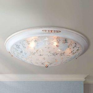 Skleněné stropní světlo Diametrik - bílá-zlato