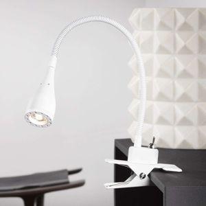 Ohebná LED klipová lampa Mento, bílá
