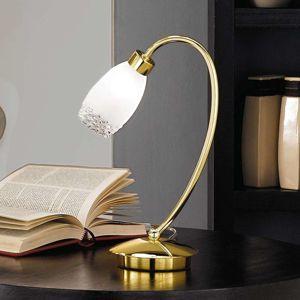 Mosazná stolní lampa Ilena se skleněným stínidlem
