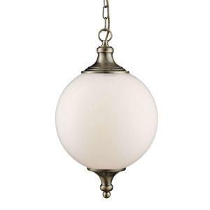 Skleněné závěsné světlo Whisko, starožitná mosaz