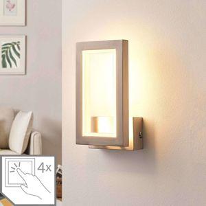 Hranatá nástěnná LED lampa Heriba, matný nikl