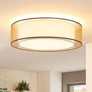 Textilní stropní lampa Amon, stmívatelná, hnědá