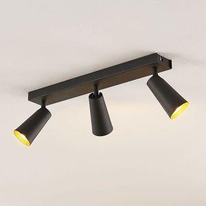 Lucande Angelina stropní světlo černo-zlatá, 3žár.