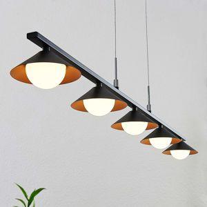 Lucande LED -závěsné světlo Kianos, černé, 5ž.